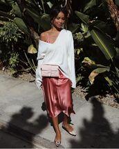 sweater,white sweater,v neck,dress,slip dress,shoes,blogger style