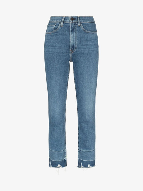3x1 Shelter cropped frayed jeans in blue