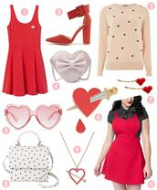 scathingly brilliant,blogger,dress,shoes,sweater,bag,sunglasses,valentines day,heart,heart sunglasses,heart sweater,heart jewelry,red dress