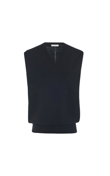 The Row Cremona Wool-Cashmere Sweater Vest in black