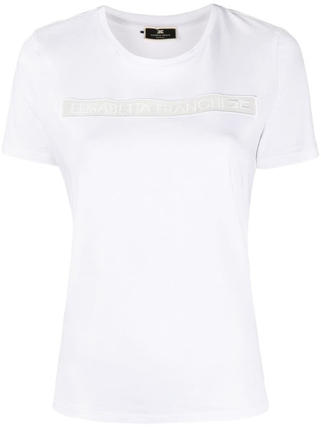 Elisabetta Franchi logo-patch T-shirt in white