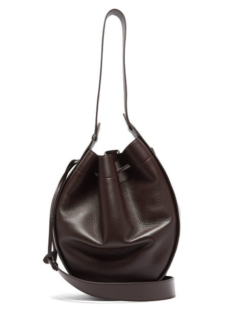The Row - Xl Drawstring Grained-leather Bag - Womens - Burgundy
