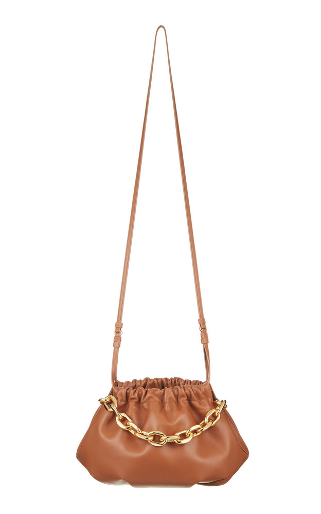 The Volon Gabi Chain-Embellished Leather Shoulder Bag in brown