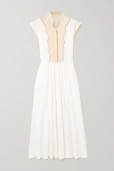 Chloé Chloé - Silk Crepe De Chine And Linen Midi Dress - White