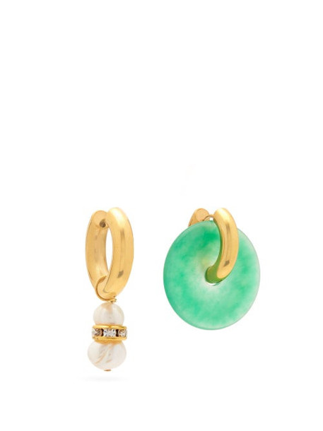 Timeless Pearly - Pearl, Crystal And Jade Disk Mismatched Earrings - Womens - Green Gold