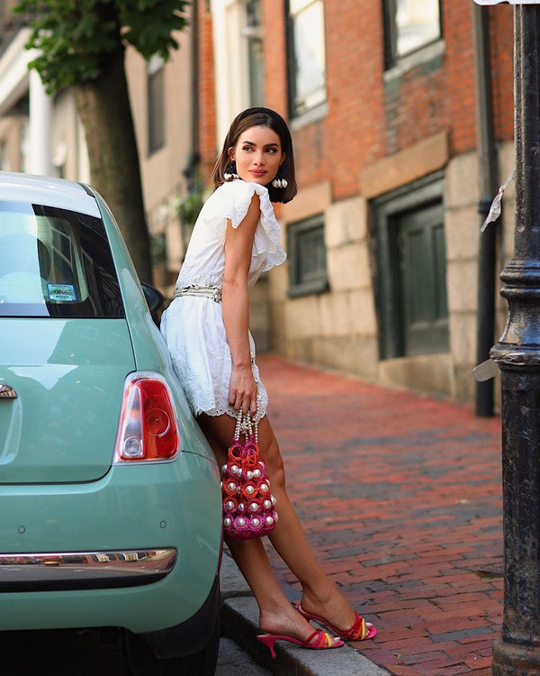 dress white dress mini dress sandal heels handbag