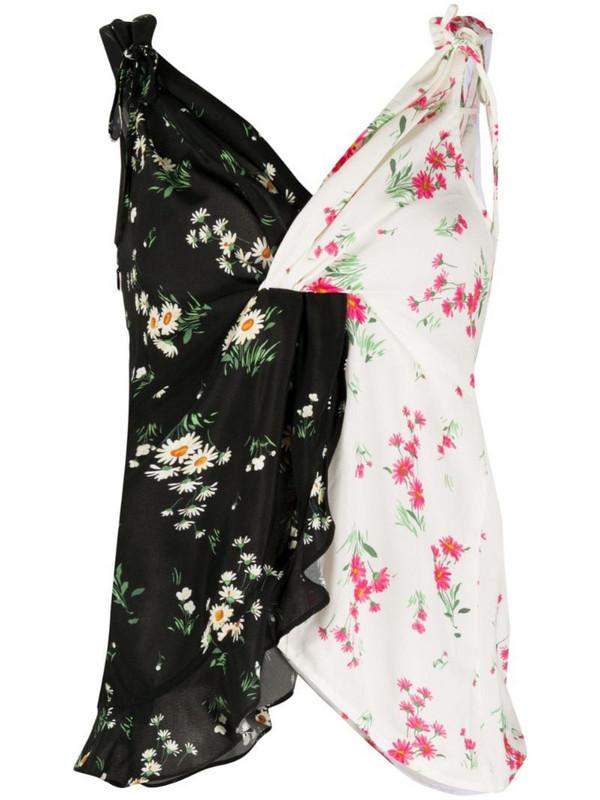 Vivetta two-tone floral print cami top in black