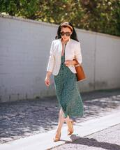 dress,midi dress,white blazer,brown bag,slingbacks