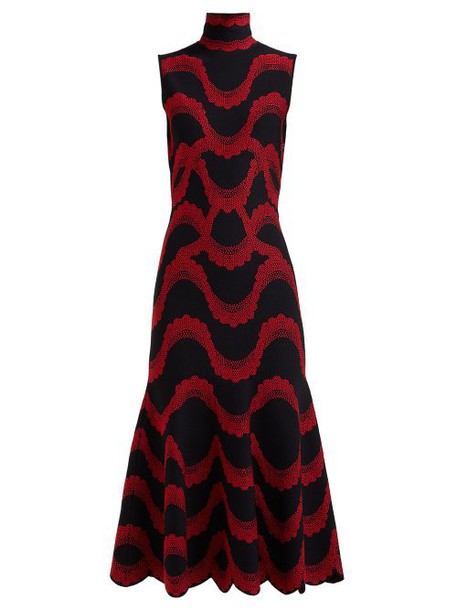 Alexander Mcqueen - Wave Jacquard Scalloped Hem Midi Dress - Womens - Black Red