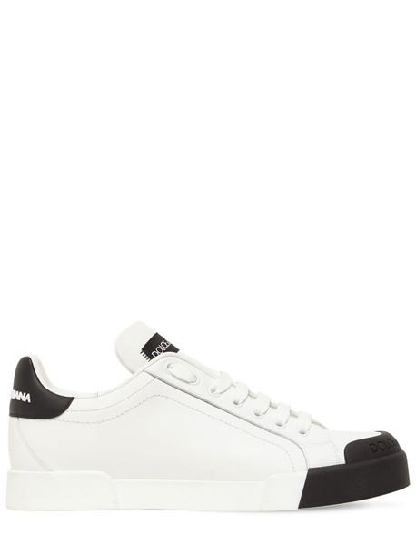 DOLCE & GABBANA 20mm Portofino Leather Sneakers in black / white