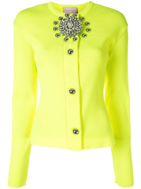 Christopher Kane crystal brooch ribbed cardigan in yellow