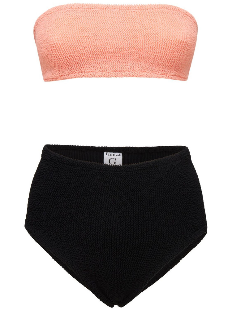 HUNZA G Duo Edie Nile High Waist Bikini Set in black / coral