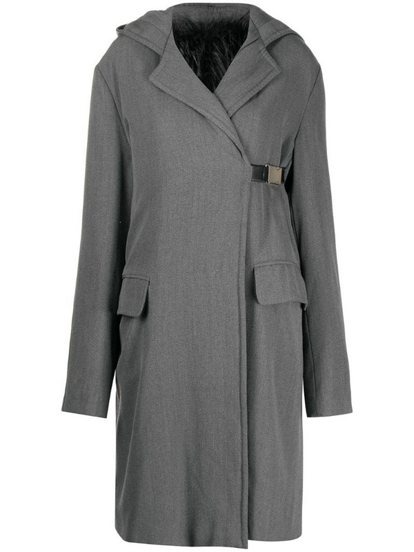 Gianfranco Ferré Pre-Owned 1990s hooded knee-length coat in grey