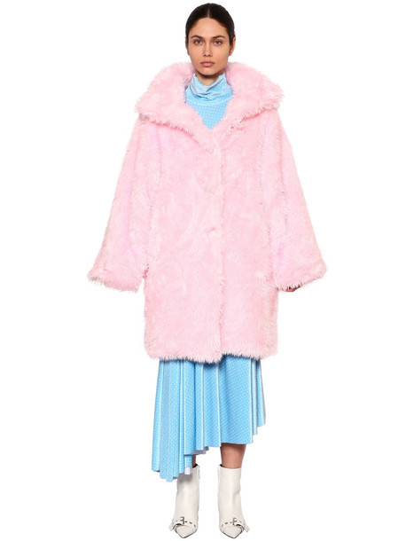 BALENCIAGA Oversized Faux Fur Coat in pink
