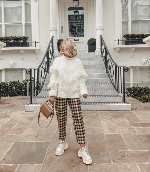 sweater turtleneck sweater white sweater fringes white sneakers plaid straight pants brown bag shoulder bag