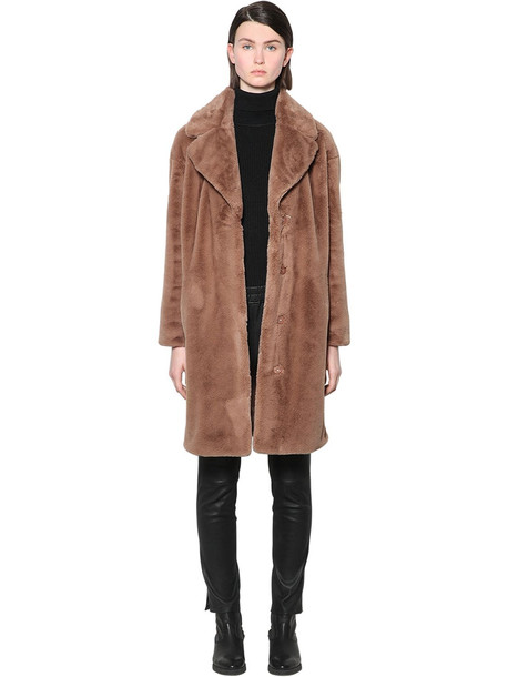 STAND Camille Soft Midi Coat in camel