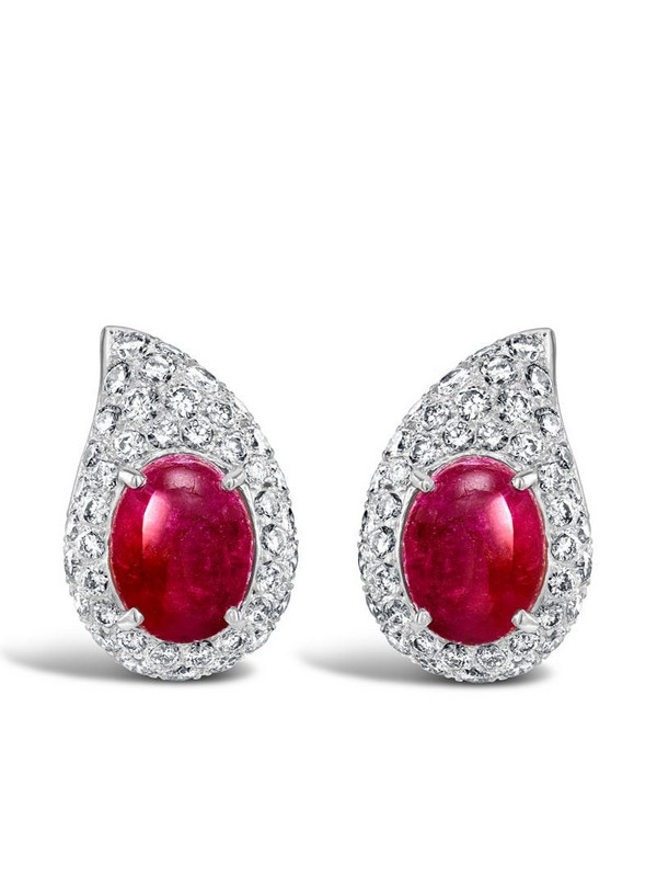 Cartier 1961 18kt white gold ruby and diamond stud earrings in silver
