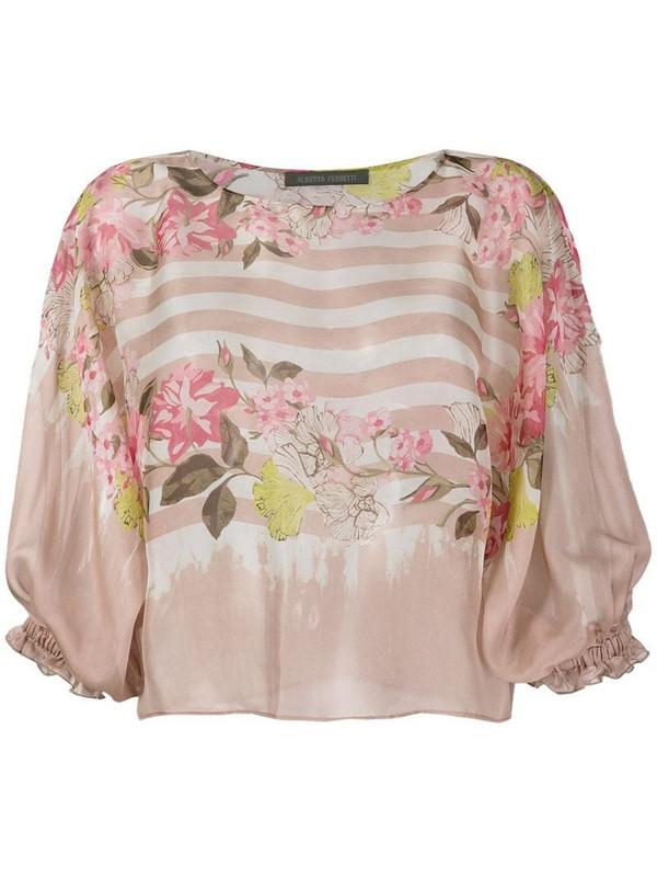 Alberta Ferretti striped floral print silk blouse in pink