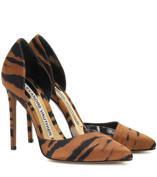 Alexandre Vauthier Angelina tiger-print satin pumps in brown
