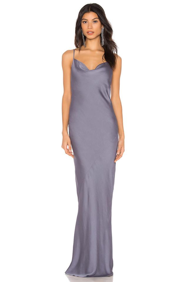 Shona Joy Luxe Bias Cowl Slip Dress in gray