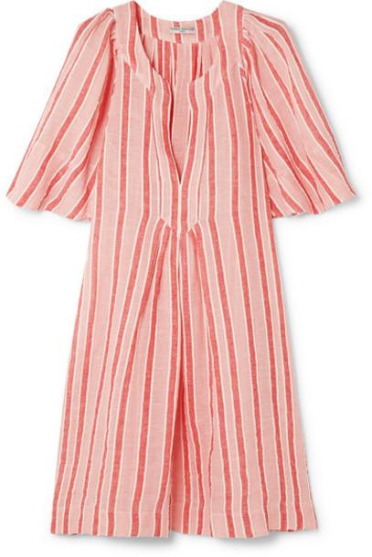 Three Graces London - Prudence Striped Linen-blend Mini Dress - Pastel pink