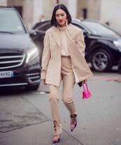 pants,high waisted pants,blazer,pumps,balenciaga,handbag,pink bag,knitted sweater,earrings