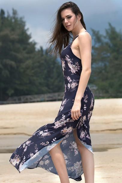 dress floral navy fashion spring style trendy cute slit dress dressfo