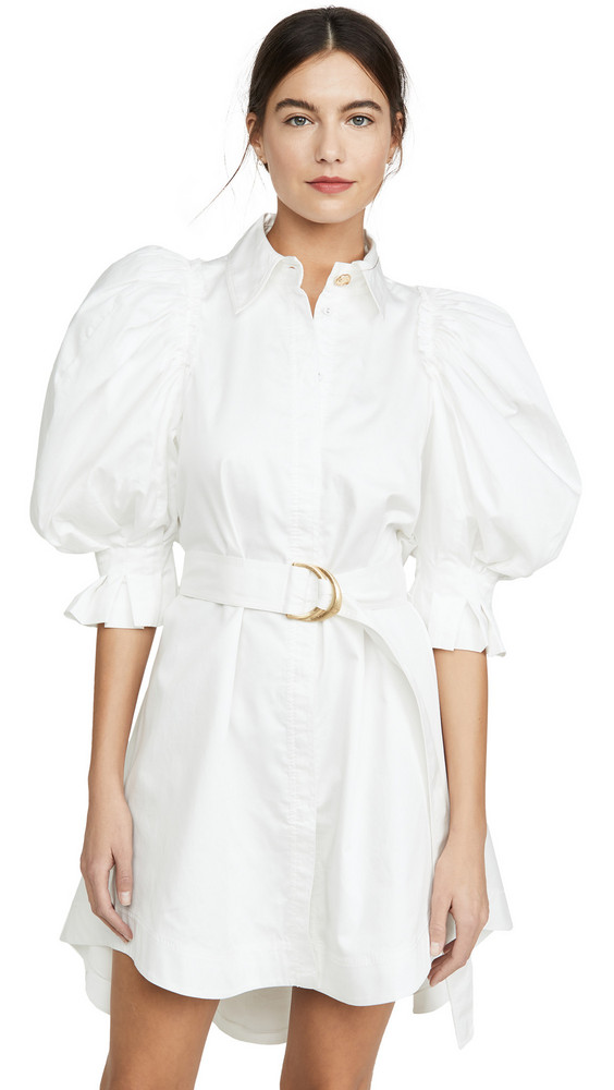 Aje Eucalypt Puff Sleeve Shirt Dress in white