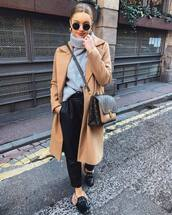 sweater,turtleneck sweater,grey sweater,h&m,black loafers,mules,fur,camel coat,long coat,brown bag,louis vuitton bag,black pants,high waisted pants
