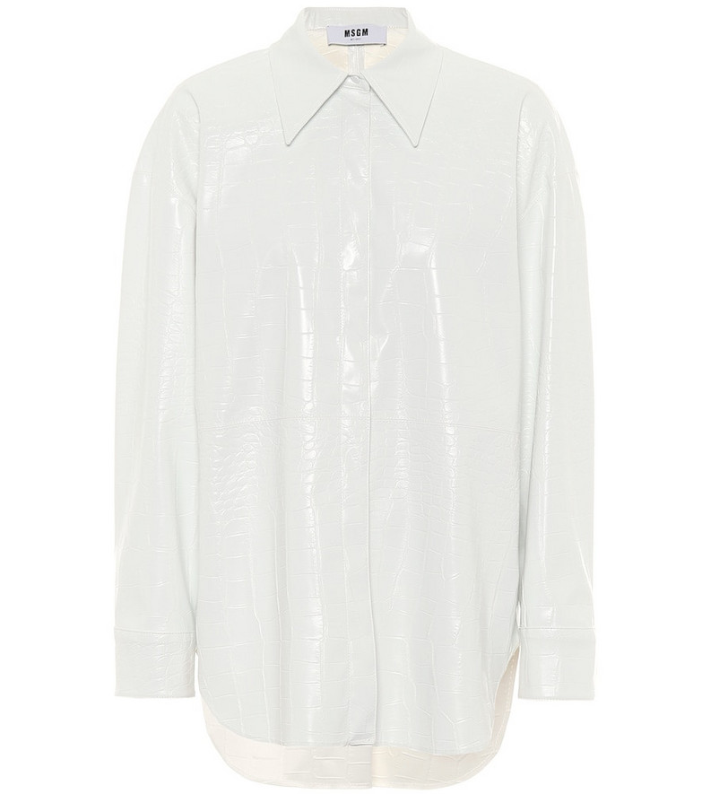 MSGM Faux patent leather shirt in white