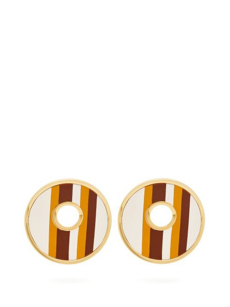 Marni - Open Circle Leather Striped Earrings - Womens - Brown