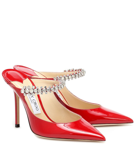 Jimmy Choo Bing 100 patent leather mules in red