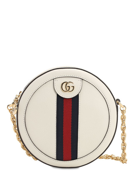 GUCCI Mini Ophidia Round Leather Bag in white
