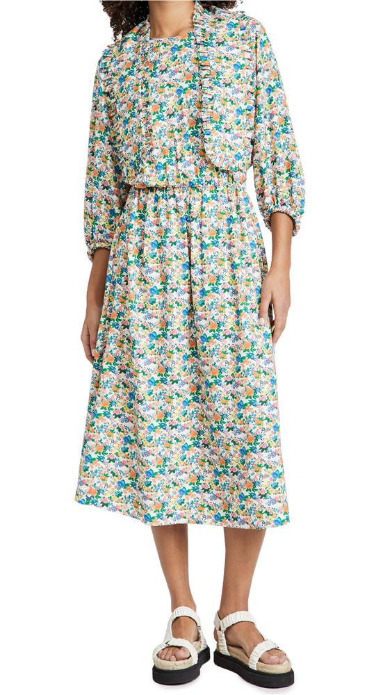 Tibi Sabine Floral Allonge Collar Dress in stone / multi