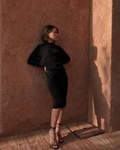 dress,midi dress,long sleeve dress,turtleneck dress,black sandals