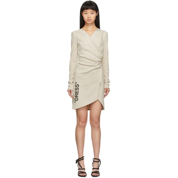 Off-White Beige Side Opening Mini Dress