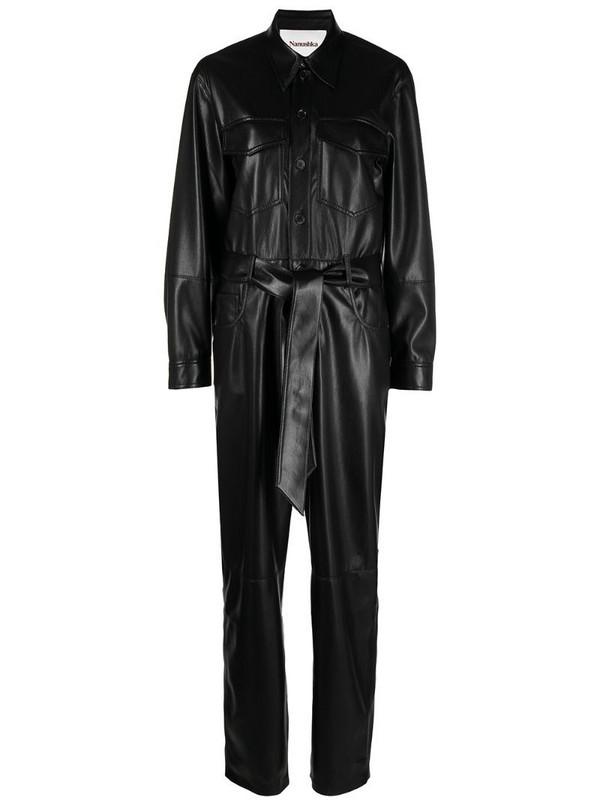 Nanushka Ashton vegan leather straight jumpsuit in black