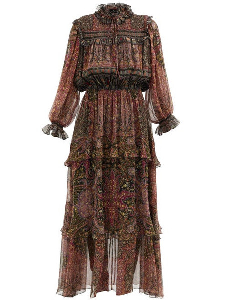 Etro - Paisley-print Silk-georgette Longline Dress - Womens - Red Multi