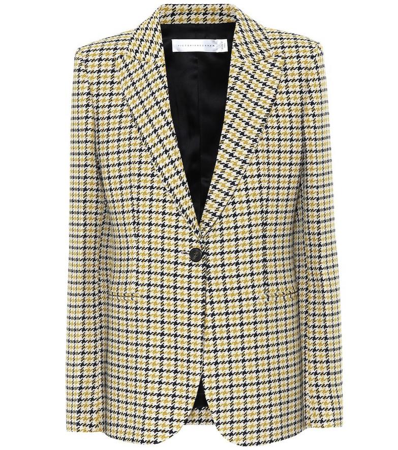 Victoria Beckham Houndstooth wool-blend blazer in yellow