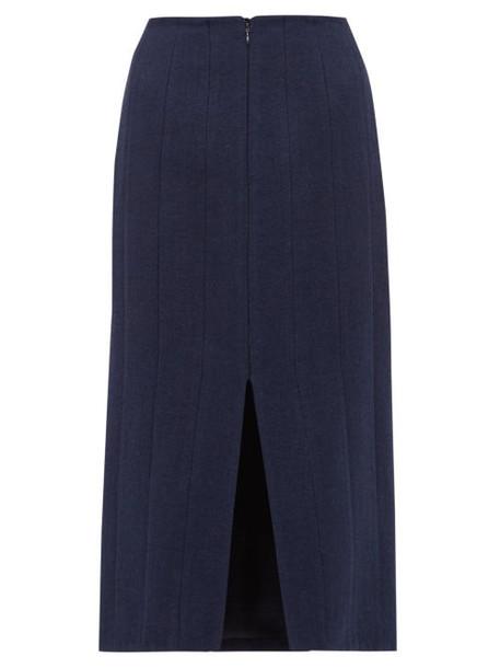 Brock Collection - Pietrasole Wool Blend Midi Skirt - Womens - Navy
