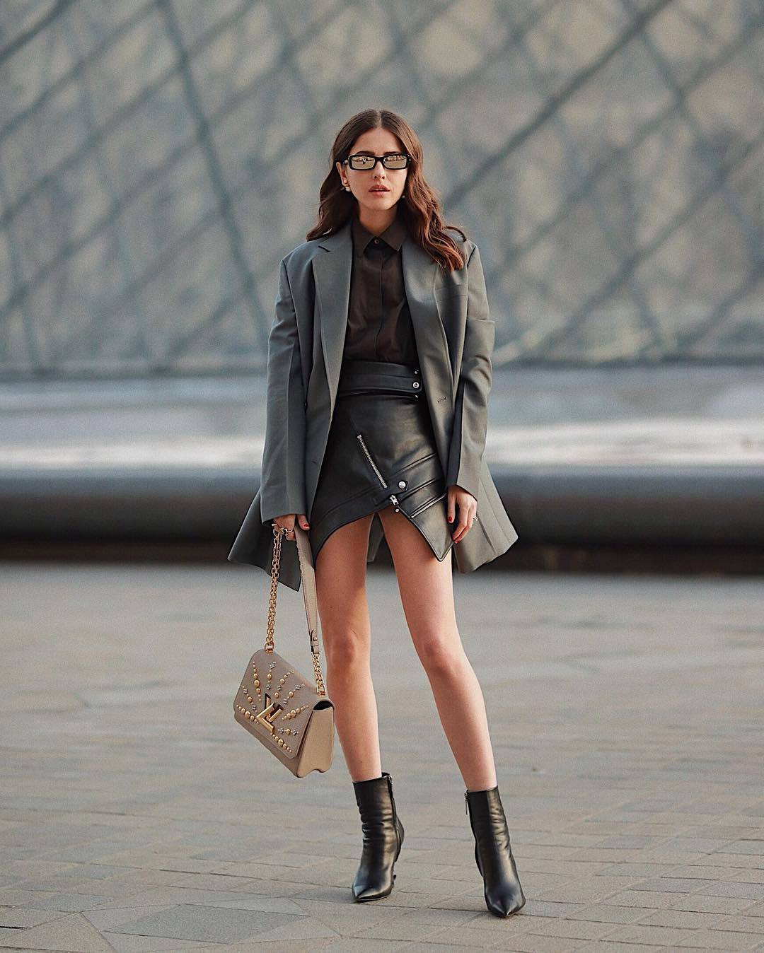 jacket grey blazer prada ankle boots black boots louis vuitton bag black leather skirt shirt