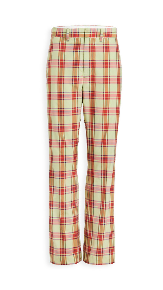 Toga Pulla Madras Check Pants in green