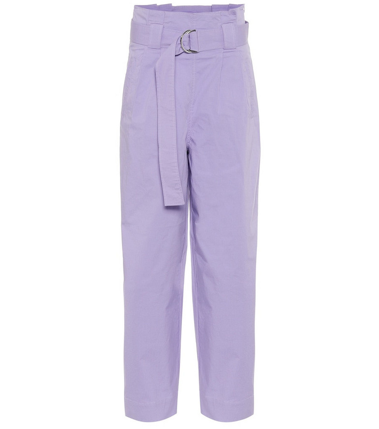 Ganni High-rise straight pants in purple