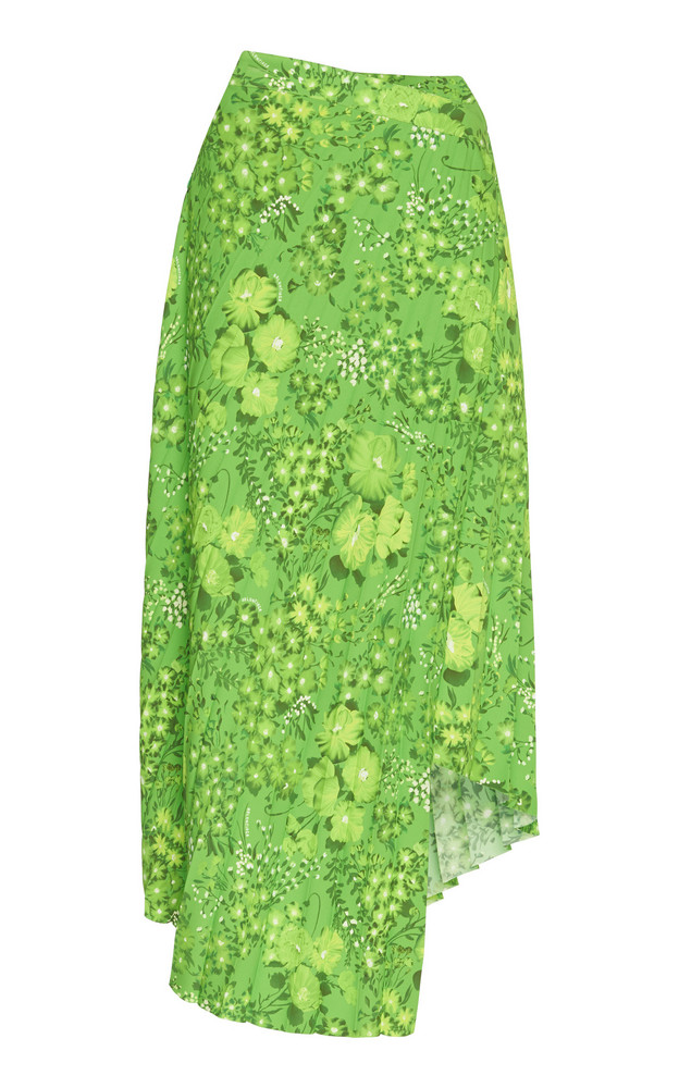 Balenciaga Twisted Pleats Midi Skirt in green