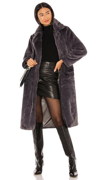 Apparis Mona Faux Fur Coat in Grey in gray