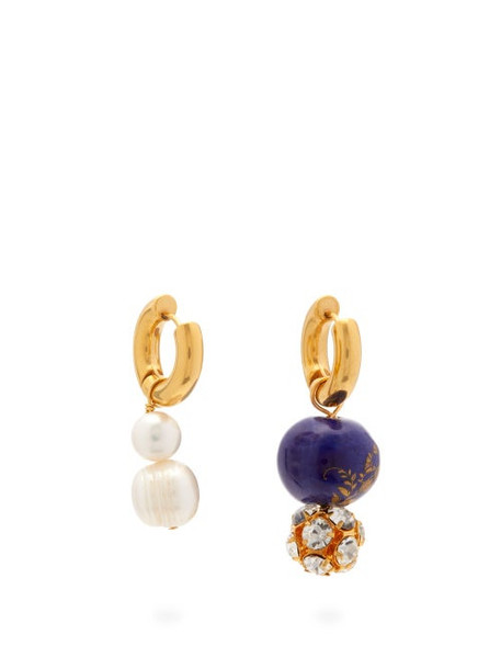 Timeless Pearly - Mismatched Pearl, Crystal & Gold-plated Earrings - Womens - Blue Gold