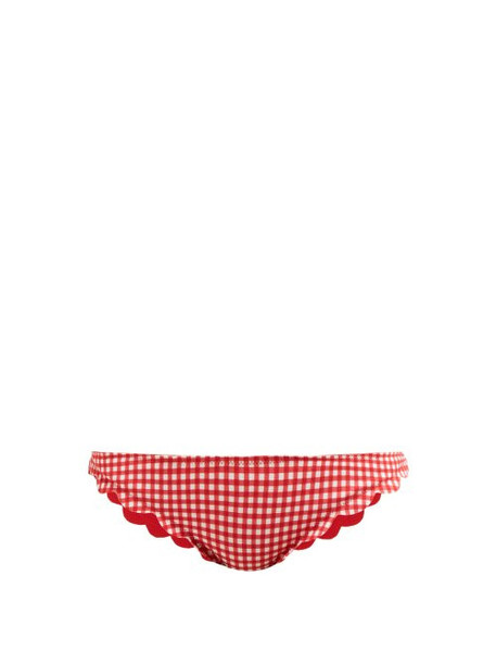 Marysia - Broadway Gingham Scallop Edged Bikini Briefs - Womens - Red