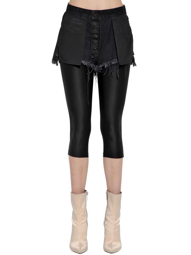 UNRAVEL Inside Out Denim Shorts W/ Leggings in black