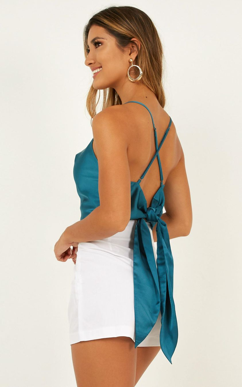 Love That Burns Top In Teal Satin