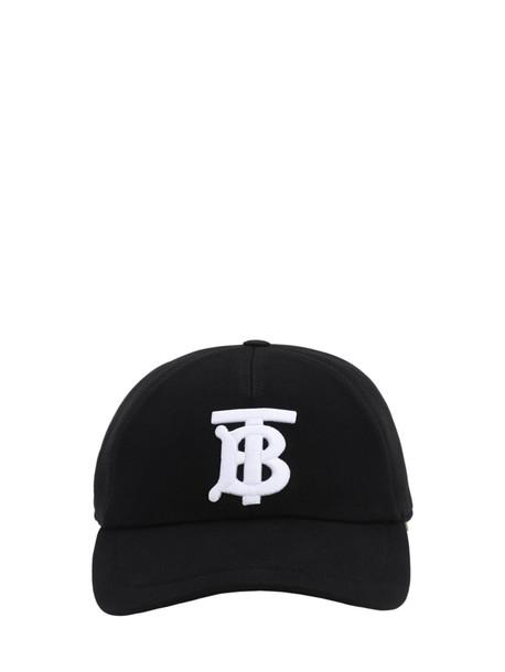 BURBERRY Tb Logo Cotton Canvas Baseball Hat in black